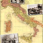 Vintage Map Of Italy Genealogy Map Art Print