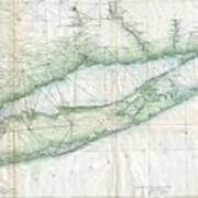 Vintage Map Of Long Island Ny Art Print