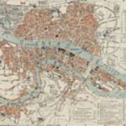 Vintage Map Of Lyon France - 1888 Art Print