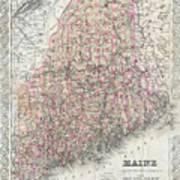 Vintage Map Of Maine  Art Print
