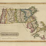 Antique Map Of Massachusetts Art Print