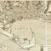 Vintage Map Of Messina Italy - 1900 Art Print