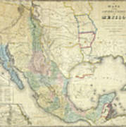 Vintage Map Of Mexico - 1847 Art Print