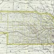 Vintage Map Of Nebraska - 1889 Art Print