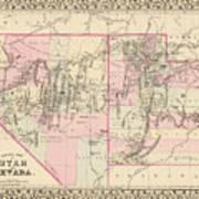 Vintage Map Of Nevada And Utah - 1880 Art Print