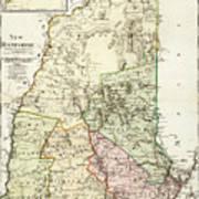 Vintage Map Of New Hampshire - 1796 Art Print
