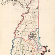 Vintage Map Of New Hampshire - 1819 Art Print