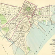 Vintage Map Of New Haven Connecticut - 1893 Art Print