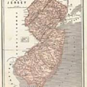 Vintage Map Of New Jersey - 1845 Art Print