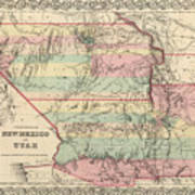 Vintage Map Of New Mexico And Utah - 1857 Art Print