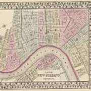 Vintage Map Of New Orleans - 1880 Art Print