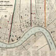 Vintage Map Of New Orleans Louisiana - 1845 Art Print