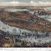 Vintage Map Of New York And Brooklyn Circa 1875 Art Print