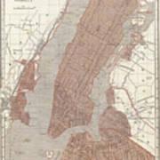 Vintage Map Of New York City - 1845 Art Print