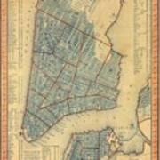 Vintage Map Of New York City - 1846 Art Print