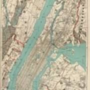 Vintage Map Of New York City - 1890 Art Print