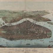 Vintage Map Of New York City - 1905 Art Print
