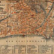 Vintage Map Of Nice France - 1914 Art Print