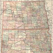 Vintage Map Of North And South Dakota - 1891 Art Print