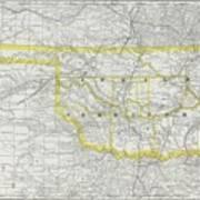 Vintage Map Of Oklahoma - 1889 Art Print