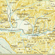 Vintage Map Of Olympia Greece - 1894 Art Print