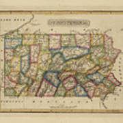 Antique Map Of Pennsylvania Art Print