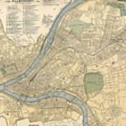 Vintage Map Of Pittsburgh Pa - 1891 Art Print