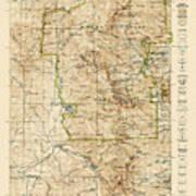 Vintage Map Of Rocky Mountain National Park - Colorado - 1919/1940 Art Print
