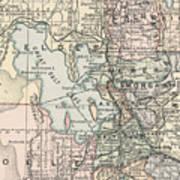 Vintage Map Of Salt Lake City - 1891 Art Print