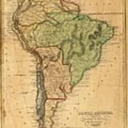 Vintage Map Of South America - 1821 Art Print