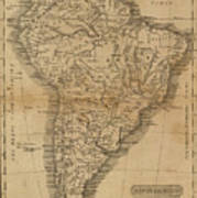 Vintage Map Of South America - 1825 Art Print