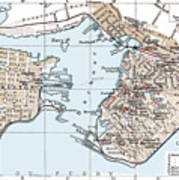 Vintage Map Of St. John New Brunswick - 1894 Art Print