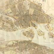 Vintage Map Of Stockholm  Art Print