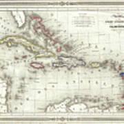 Vintage Map Of The Caribbean - 1852 Art Print