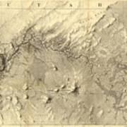Vintage Map Of The Colorado River - 1858 Art Print