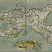 Vintage Map Of The Kingdom Of Naples - 1608 Art Print