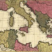 Vintage Map Of The Mediterranean - 1695 Art Print