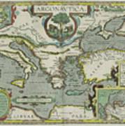Vintage Map Of The Mediterranean Sea - 1608 Art Print