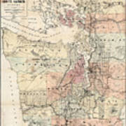 Vintage Map Of The Puget Sound - 1891 Art Print