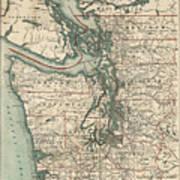 Vintage Map Of The Puget Sound - 1910 Art Print