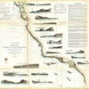 Vintage Map Of The U.s. West Coast - 1853 Art Print