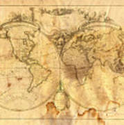 Vintage Map Of The World Art Print by Michal Boubin