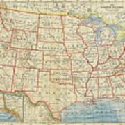 Vintage Map Of United States, 1883 Art Print