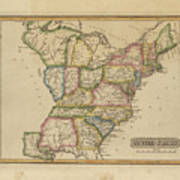 Antique Map Of United States Art Print