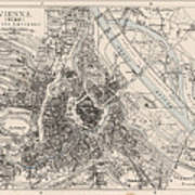 Vintage Map Of Vienna Austria - 1906 Art Print