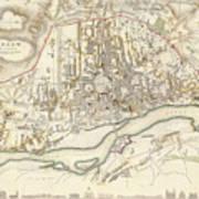 Vintage Map Of Warsaw Poland - 1831 Art Print