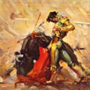 Vintage Mexico Bullfight Travel Poster Art Print