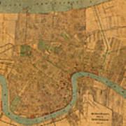 Vintage New Orleans Louisiana Street Map 1919 Retro Cartography Print On Worn Canvas Art Print