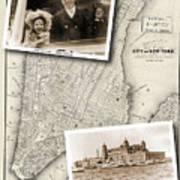 Vintage New York Map With Ellis Island Art Print