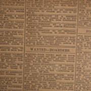 Vintage Old Classified Newspaper Ads Art Print